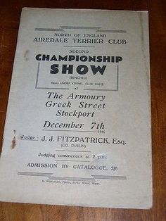 RARE AIREDALE TERRIER DOG CLUB BOOK 1946 SECOND CHAMPIONSHIP SHOW CATALOGUE
