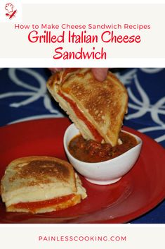 Learn how to make cheese sandwich recipes like this recipe for a grilled Italian cheese sandwich. In a saucepan combine tomato mixture. Place bread slices on prepared tray and broil then turnover and top with the cheeses. Return to broiler. When cheese begins to melt, top with pepperoni. Serve with the tomato sauce.