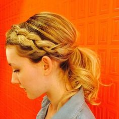 side French braid into low pony for medium hair