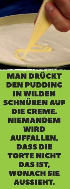Man drückt den Pudding in wilden Schnüren auf die Creme. Niemandem wird auffal… You push the pudding in wild laces on the cream. Nobody will notice that the cake is not what it looks like. Nutella Recipes, Cake Recipes, Yummy Quesadillas, Spaghetti Torte, Pudding Desserts, French Desserts, Polish Recipes, Cream Cake, Ice Cream