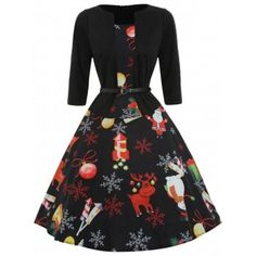 Christmas Print Three Qaurter Sleeve Dress - Black M Spring Fit and Flare Dress Robes Vintage, Vintage Party Dresses, Party Dresses For Women, Dress Vintage, Christmas Dress Women, Christmas Fashion, Womens Christmas, Fall Cocktail Dress, Types Of Dresses