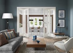 Home Improvement, Beautiful Choices on Bifold French Doors Interior: Amazing White Bifold French Doors Interior Bamboo Room Divider, Glass Room Divider, Room Divider Doors, Door Dividers, Divider Cabinet, Sliding Room Dividers, Bifold French Doors, Glass French Doors, Glass Doors