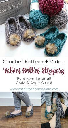 Most current Totally Free Crochet socks velvet Popular Quick & Easy Velvet Ballet Slippers – MJ's off the Hook Designs Mode Crochet, Crochet Gratis, Crochet Baby, Knit Crochet, Crochet Designs, Crochet Patterns, Crochet Slipper Pattern, Slippers Crochet, Easy Crochet Socks