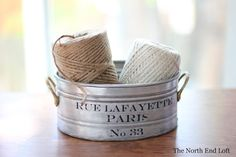 The North End Loft: Little French Can-Can  Instructions for decoupaging on metal containers are easy to follow.