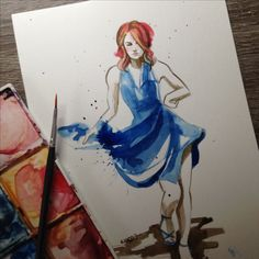 Lalaland watercolor fanart - emma stone and her blue party dress