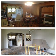 Before... Now during... (Cut out window in wall to open 2 living rooms). Can't wait till its done