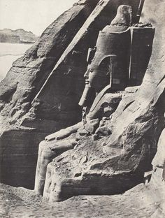 Abu Simbel View of the Great Temple of Ramesses II. Abu SimbelView of the Great Temple of Ramesses II at Abu Simbel, Lower Nubia. century photograph by Maxime du Camp (French, published in his book Egypte, Nubie, Palestine et Syrie. Ancient Art, Ancient Egypt, Ancient History, Ancient Ruins, History Of Photography, Travel Photography, Old Pictures, Old Photos, Egypt Museum
