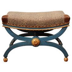 A Jansen Painted and Parcel Gilt Curule Stool