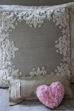 lace & linen pillow