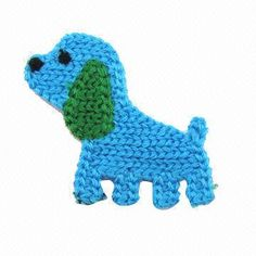 crochet applique | Dog design crocheted applique, blue and green color, comes at 4cm wide ...