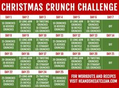 Get into the holiday spirit with this Christmas Crunch Challenge! Get into the holiday spirit with this Christmas Crunch Challenge! Crunch Challenge, Month Workout Challenge, Workout Schedule, Health Challenge, 30 Day Challenge, Workout Diet, December Challenge, Clean Eating Challenge, Christmas Challenge
