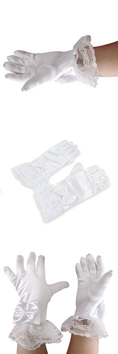 Flower Girls Gloves Kids White Satin Lace Princess Gloves Holy Communion Evening Birthday Party Wedding Gloves 5-8yrs