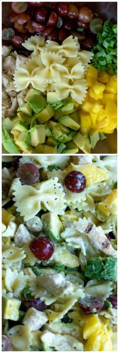 Mango Pasta Salad with Poppy Lime Dressing. Soooo good! Check out more recipes like this! Visit yumpinrecipes.com/