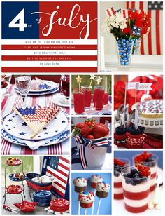 A lot of ideas for Fourth of July food and decorations!!