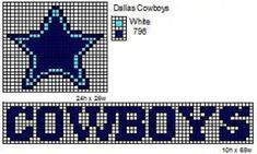 Crochet Fanatic: NFL Logos and Name Plates · Dallas Cowboys . Bead Loom Patterns, Perler Patterns, Beading Patterns, Cross Stitch Patterns, Crochet Patterns, Crochet Ideas, Crochet Appliques, Stitching Patterns, Hat Patterns