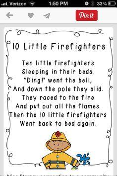 5 Little Firefighters- tune Incy Wincy Spider Preschool Songs, Preschool Themes, Preschool Lessons, Preschool Classroom, Kids Songs, Kindergarten, Community Helpers Lesson Plan, Songs About Fire, Fire Safety Week