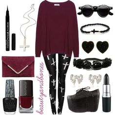 Red black Nu Goth outfit
