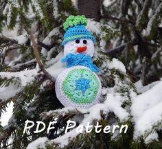 Crochet Snowman Pattern, Cute Snowman Amigurumi Pattern, African flower toy pattern, Christmas home decoration, Crochet Embellisment, Decor by CrochetByPapilio on Etsy