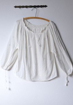 WHITE Vintage Cotton Gauze 70s Peasant Smock Blouse   Sold