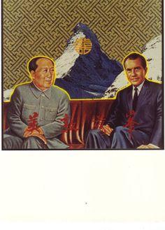 Double Happiness. Lichtobjecten van Woody van Amen. Object met foto's en neon. 1972 Ontmoeting Mao en Nixon.