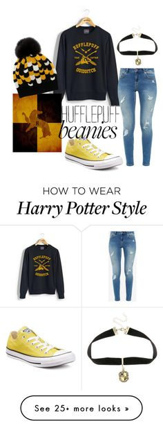 """""""Hufflepuff Quidditch"""" by brittnicolev12 on Polyvore featuring Ted Baker, Prada, Converse, Warner Bros., harrypotter, beanies, Hufflepuff, blackandyellow and hufflepuffquidditch"""