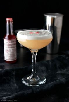 Classic Bohemian cocktail made with gin, grapefruit juice, elderflower liqueur, and bitters. Topped with a foamy egg white head.