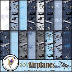 scrap book paper with airlanes | ... scrapbooking papers with bi planes airliners black hawk choppers