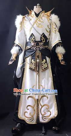 Asian Chinese Traditional Cospaly Costume Customization Ancient General Costume Complete Set, China Elegant Hanfu Swordsman Clothing for Men Cosplay Outfits, Anime Outfits, Cool Outfits, Fashion Outfits, Fantasy Armor, Fantasy Dress, Cosplay Kawaii, King Outfit, Fantasy Costumes