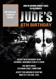 Diy Printable Call Of Duty Black Ops 2 Party Invitations 12 00