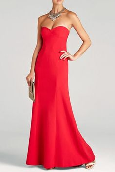 7edd299c452  218.00 BCBGMAXAZRIA SURREY STRAPLESS FITTED BUSTIER GOWN RED Red  Bridesmaids