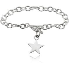 Journee Collection Sterling Silver Chain Star Bracelet ($43) ❤ liked on Polyvore featuring jewelry, bracelets, silver, sterling silver star pendant, bracelet bangle, sterling silver bracelet, wide bracelet and chain pendants
