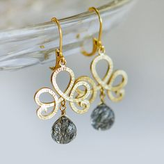 Gold chandelier earrings, Grey earrings, grey and gold jewelry, Rutilated Quartz earrings in gold on Etsy, 40,19 €