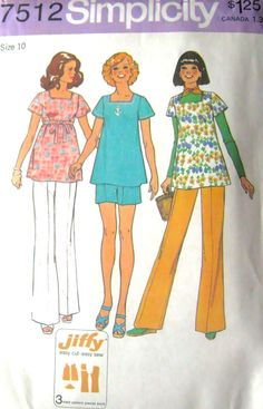 70s Vintage Maternity Top, Pants, Shorts Simplicity 7512 Uncut Sewing Pattern, Size 10