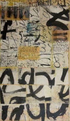 "Laura Wait, ""Literate Farrago"", Mixed-Media, Encaustic, Kozo Paper, Sumi Ink, 2010"