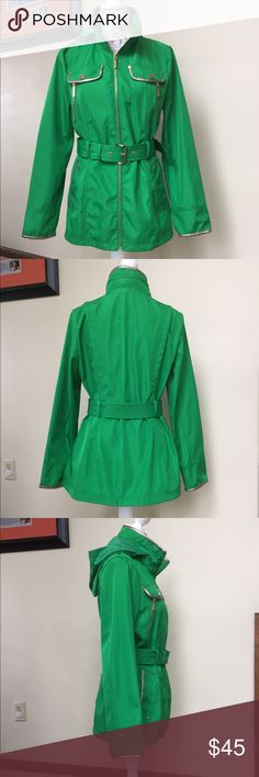 Spotted while shopping on Poshmark: Michael Kors Kelly green jacket with belt & hood! #poshmark #fashion #shopping #style #Michael Kors #Jackets & Blazers