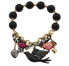 Betsey Johnson Jewelry | Betsey Johnson Jewelry Black Bird Bead Bracelet New | eBay