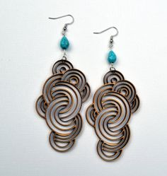 Wood Earrings Laser Cut Fashion Circles from Birch by jleslietx, $22.00