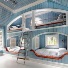 Freaking awesome!! Kids room? Great for sleepovers! Loft Beds built into the wall. Could also be used as a reading nook; I would pillow the shit out of that loft! Also, bookshelf between the bunks. Win. Curt could totally build this :)