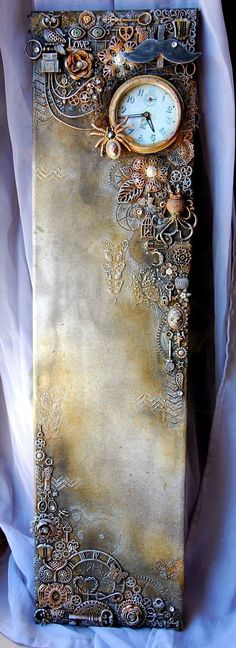 52 Ideas Mixed Media Art Steampunk For 2019 Altered Canvas, Altered Art, Altered Tins, Mixed Media Collage, Mixed Media Canvas, Mixed Media Artwork, Art Steampunk, Arte Country, Junk Art