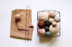 There goes my excuse that my yarn would fall through a vintage wire basket. Photo from Studio Meez blog
