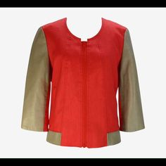 Gorgeous NWT Helmut Lang Jacket Helmut Lang jacket with zip front and elastic gathering in back. 66% linen/32% viscose/2% elastane with 100% polyester lining and 100% lamb leather decoration and 3/4 sleeves. Helmut Lang Jackets & Coats