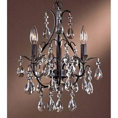 Three-light Antique Copper Crystal Chandelier Lighting Fixture #Modern