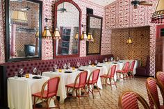The Purple Palm Restaurant at the Colony Palms Hotel in Palm Springs is renovated by renown Los Angeles designer Martyn Lawrence Bullard. Palm Springs Hotels, Palms Hotel, French Chairs, New Wallpaper, Schumacher, Creative Home, Restaurant Design, Interior Design, Home Decor