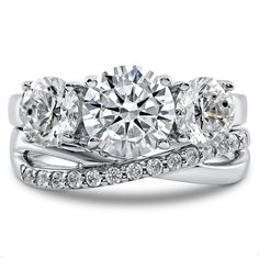 3 Stone Ring Set with Round Cubic Zirconia in Sterling Silver