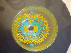Hand Painted Henna Mehendi Wedding Wine Glass Yellow by RusticNids, $19.99