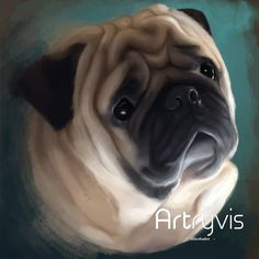 Barney Commission #pet #dog #digitalpainting #watercolor #commission #pug #artryvis
