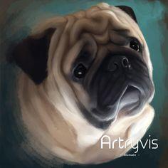 Barney Commission #pet #dog #digitalpainting #watercolor #commission #pug #artryvis
