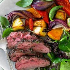 Rosemary Lamb Rump With Balsamic Roasted Vegetables & Haloumi Rump Steak Marinade, Rump Steak Recipes, Lamb Recipes, Dinner Recipes, Cooking Recipes, How To Cook Lamb, Work Meals, Grilled Vegetables, Food For Thought
