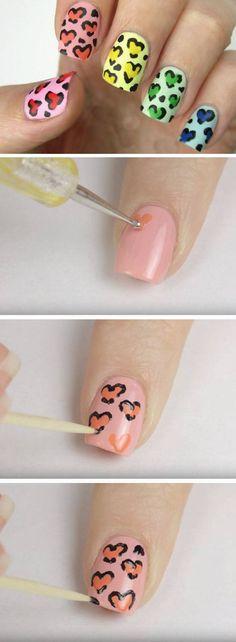 Rainbow Heart Leopard Print   Easy Heart Nail Art Ideas for Summer