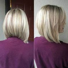 Beautiful Short Bob Hairstyles And Haircuts With Bangs A line haircut with cool blonde highlights. Inverted Bob Haircuts, Long Bob Haircuts, Trendy Haircuts, Fresh Haircuts, Pixie Haircuts, Medium Hair Styles, Short Hair Styles, Graduated Bob Hairstyles, Concave Bob Hairstyles